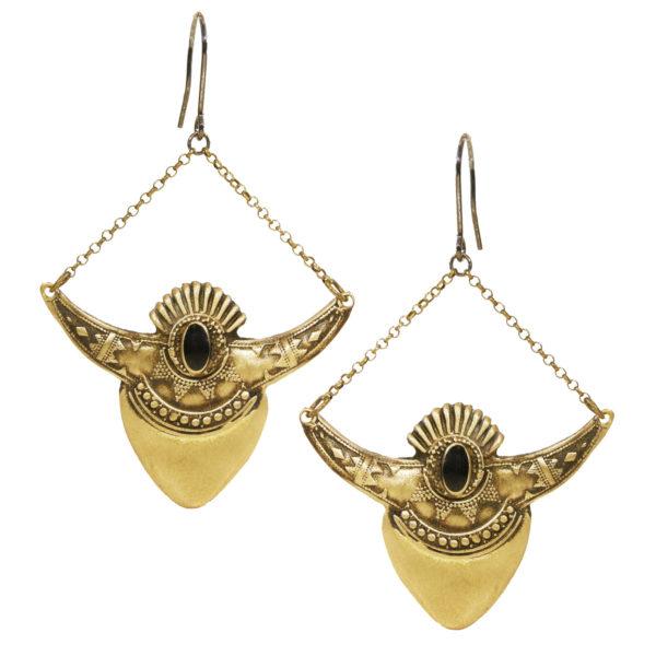 shield earrings black
