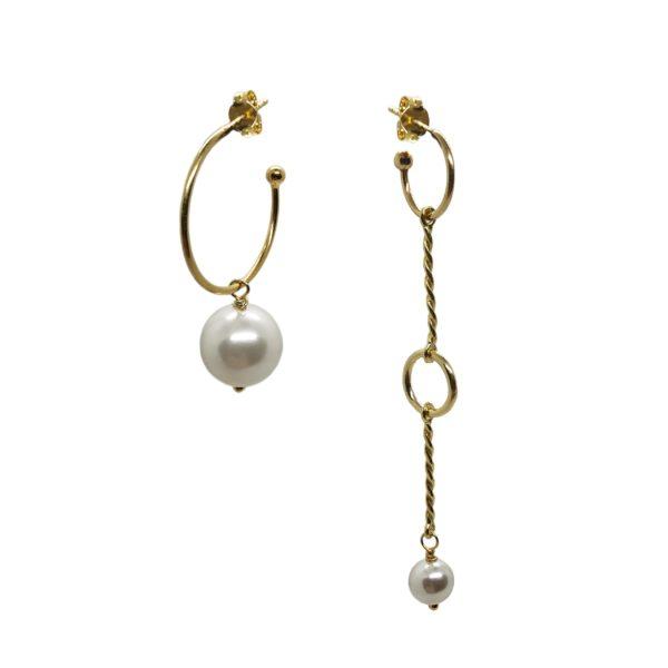 asymmetry pearl hoops gold