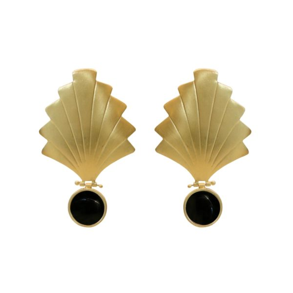 daisy earrings black agate